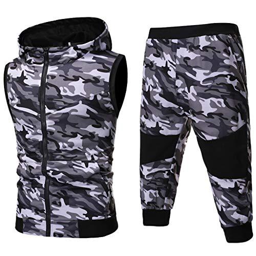 CICIYONER Hot!!! Trainingsanzug Herren Jogginganzug Sportanzug Sommer Camouflage Sweatshirt Zipper Tops Hose Sets Tanktop Hoodie +Shorts (XXL, Grau)