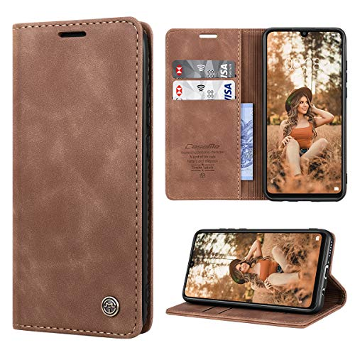 RuiPower Handyhülle für Huawei P30 Lite Hülle Premium Leder PU Flip Magnet Wallet Klapphülle Silikon Bumper Schutzhülle für Huawei P30 Lite/Huawei P30 Lite New Edition Tasche - Braun