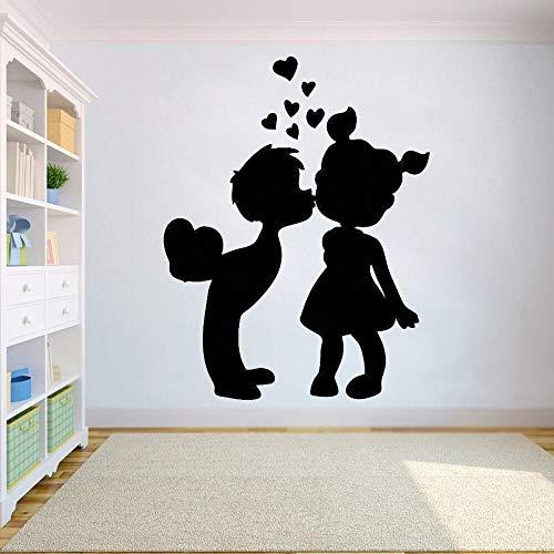Quszpm Pegatinas de Vinilo para Pared niño niña Beso calcomanías Sala de Estar Tienda decoración del hogar 80x104 cm