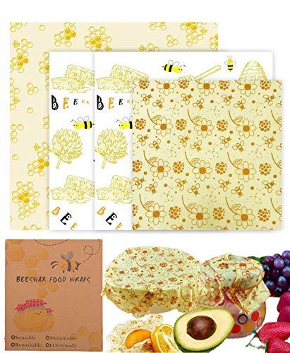 OrgaWise Wrap Cire Abeille Écologique et Lavable Emballage Cire D'abeille Réutilisables Utilisés Dans Le Fromage, Fruits, Légumes et Pain, Zéro Déchet, Paquet de 4