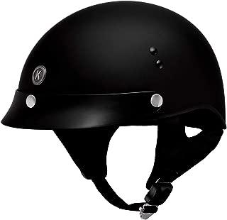 Klutch K-3 'Cruise' Flat Black Half Face Motorcycle Helmet with Snap On Visor - Medium