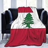 Xukmefat Manta de Cama con Bandera libanesa Manta cálida de Terciopelo Coralino en Invierno