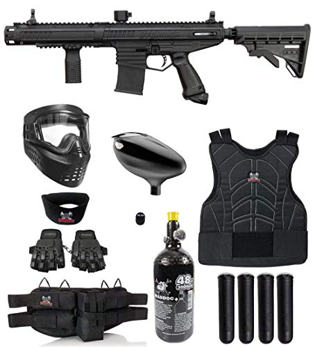 Maddog Tippmann Stormer Elite Dual Fed Protective HPA Paintball Gun Marker Starter Package - Black