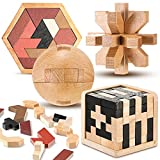 4 Pieces Wooden Brain Teaser Puzzle Toys Set Includes 3D Wooden Cube Wooden Hexagon Puzzle Building Block Magic Ball for Adults Kids Puzzles Games Family Brain Games