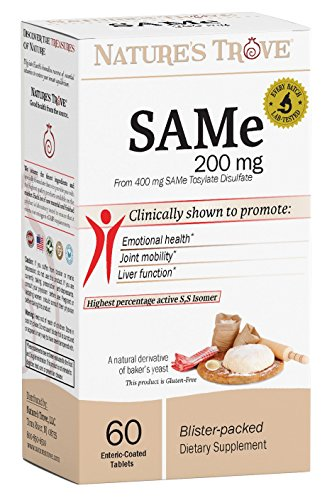SAM-e 200mg Daily Supplement - Promotes Positive Mood and Joint Comfort - Vegan, Kosher, Non-GMO, Soy Free, Gluten Free - 60 Enteric Coated Caplets - Cold Form Blister Packed - by Nature's Trove