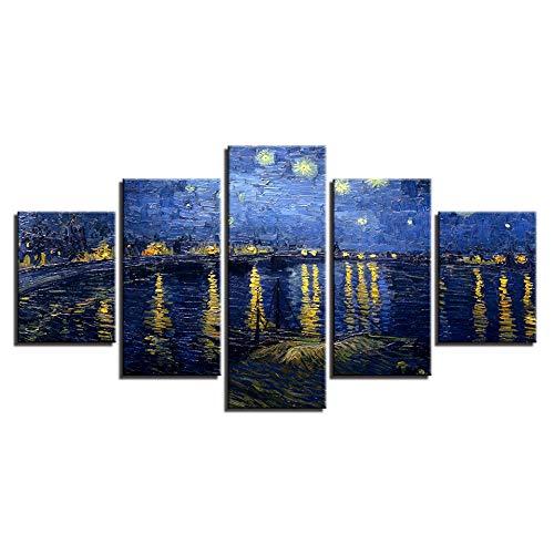 FGVBWE4R Modulare Bild Druck Leinwand 5 Panel EIN Gogh Gemälde Rahmen Sternennacht Auf Der Rhône intage Dekoration Poster-XXL