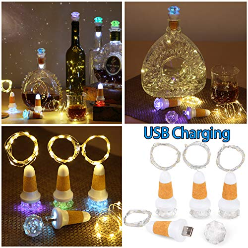 Uniyou USB Rechargeable Wine Bottle Cork Lights with 80 Inches Lights String LED Colorful Fairy Mini Lights String with 20 Warm White Lights for Wedding Festival Halloween Party Decoration(2 Pack)