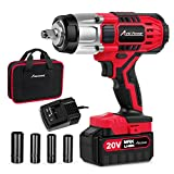 20V MAX Cordless Impact Wrench with 1/2'Chuck, Max Torque 330 ft-lbs (450N.m), 3.0A Li-ion Battery, 4Pcs Driver Impact Sockets, 1 Hour Fast Charger and Tool Bag, Avid Power