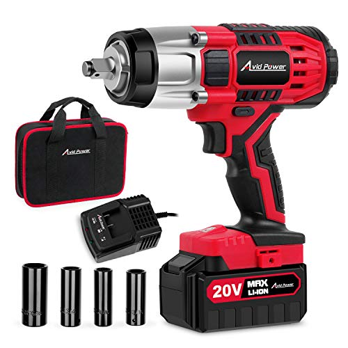 Avid Power 20V MAX Cordless Impact Wrench with 1/2'Chuck, Max Torque 330 ft-lbs (450N.m), 3.0A Li-ion Battery, 4Pcs Driver Impact Sockets, 1 Hour Fast Charger and Tool Bag, Avid Power