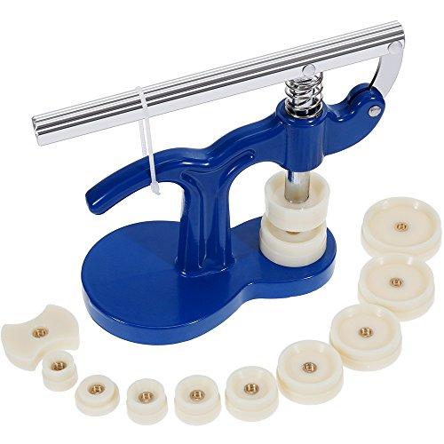 Zacro: Einpresswerkzeug für Uhren, Gehäuseschließer, Werkzeugset für Uhrenreparatur, mit 12 Druckplatten von 18mm bis 50mm, für Uhrenmacher