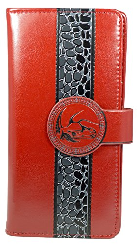 Shagwear portafoglio per giovani donne , Large Purse : Diversi colori e design: (cavalli selvaggi rosso/ Wild Horses)