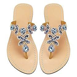 Blue & Gold Rhinestone Flat Flip Flop Sandal