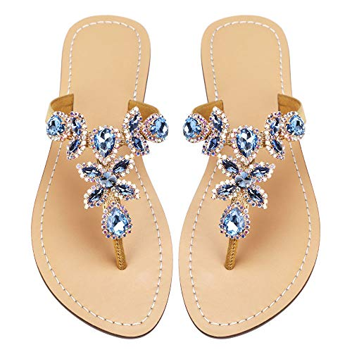 Women's Summer Rhinestone Bling Wedding Sandals,Glitter Jeweled Sandals,Dressy Flat Sandals,Beach Flip-Flops, Size 9 Blue&Gold