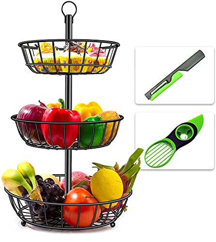 Hokyzam 3 Tier Fruit Basket Fruit Bowl Stand for Counter with Avocado Knife and Fruit Peeler and Detachable Bread Baskets Holder Fruit Tray for Counter Vegetable Snack Storage Kitchen Organizer Black