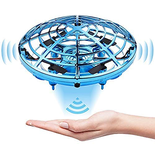 heygelo Mini Hand Operated Drone for Kids or Adults with Light Up LEDs, Easy Indoor Outdoor Small Flying UFO Toys for Boys and Girls Gift (Blue)