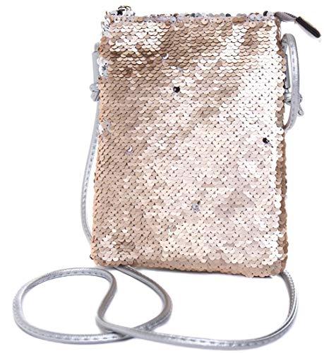 Franky Zano Damen Umhängetasche mit Wende-Pailletten, Schultertasche, Handtasche, Tasche, Mini Bag (Rose)