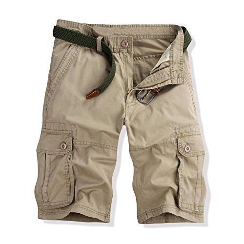 GITVIENAR Sommer Outdoor Freizeit Kurze Cargohose Herren Kurze Hose aus Baumwolle atmungsaktive Bequeme Hosen aus Baumwolle verschleißfest Arbeithose mit vieler Tasche