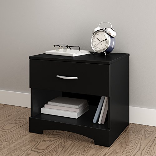 South Shore Step One 1-Drawer Nightstand, Pure Black with Matte Nickel Handles