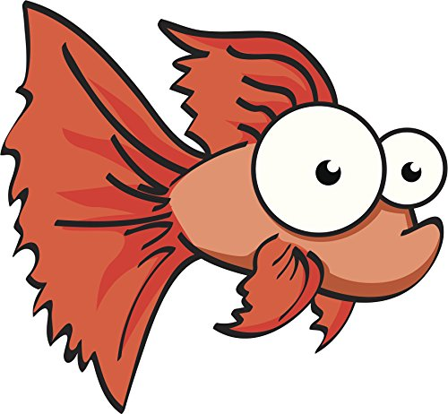 Red Orange Gold Fish with Bulging Eyes Cartoon Vinyl Sticker (8' Wide)