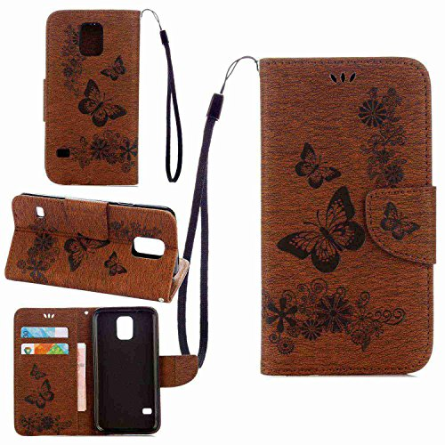 pinlu Funda para Samsung Galaxy S5 Mini Función de Plegado Flip Wallet Case Cover Carcasa Piel PU Billetera Soporte con Ranuras Mariposa Marrón
