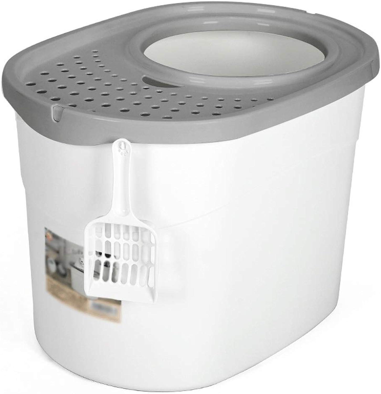 LMM HOME Cat Litter Pot Cat Toilet Portable Easy To Store Convenient Cleaning Large Space Cat Litter Pot Pet Supplies (color   White)