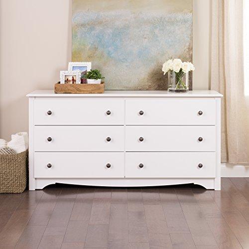 Prepac Monterey 6 Drawer Dresser, White
