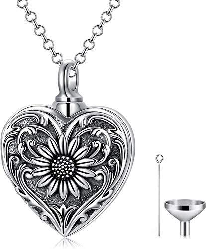 Colgante de plata con forma de corazón y girasol, joyería para cenizas de cremación, regalo para mujeres y niñas