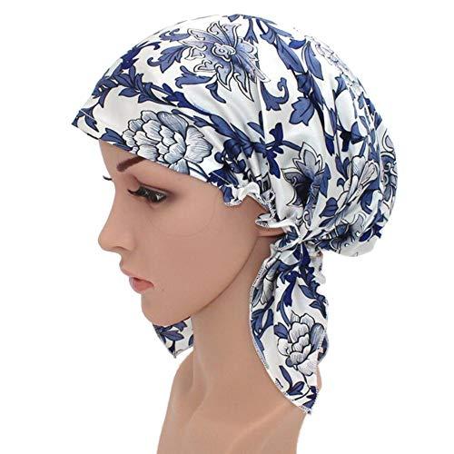 WJH Chapeau de Sommeil Naturel Soie Femmes Sleeping Cap Bonnet Head Couverture pour Beauty Hair avec Bande élastique pour Le Sommeil, Perte de Cheveux, la Protection des Cheveux (1 Paire),Bleu