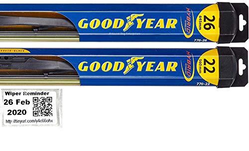 Windshield Wiper Blade Set/Kit/Bundle for 2006-2015 Honda Civic (Sedan) - Driver & Passenger Blades & Reminder Sticker (Hybrid)