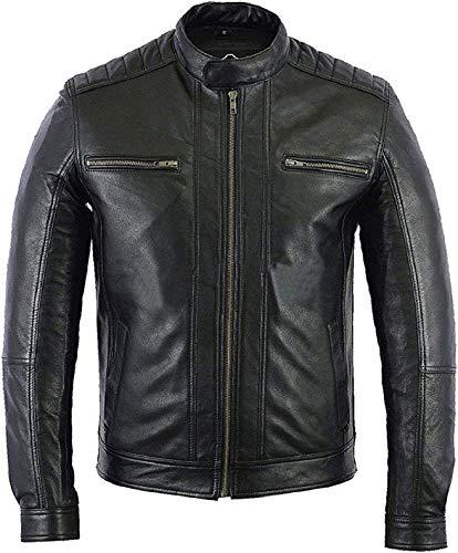 HiFacon Chaqueta negra para hombre de cuero auténtico Cafe Racer Motocycle