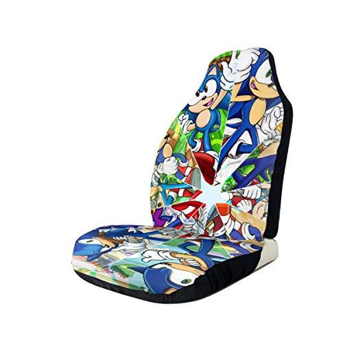 Fundas de asiento de coche de dibujos animados So-nic Protector de asiento delantero impreso en 3D asientos universales fundas antideslizantes, se adapta a la mayoría de coches, sedán, SUV