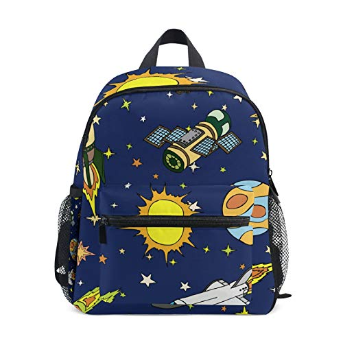 Backpack for Boys and Girls Mini Backpack Travel Bag with Chest Clip Space Stars Planet With Rockets Astronaut