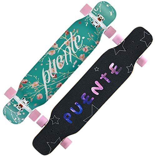 SHATONG Mädchen Newbie Eintrag Gleichgewicht Skateboard Surf The Street Longboard Allround Board Adult Professionelle Maple Skateboard Teen Vierrädrige Tanzen Brett (Color : Pink)