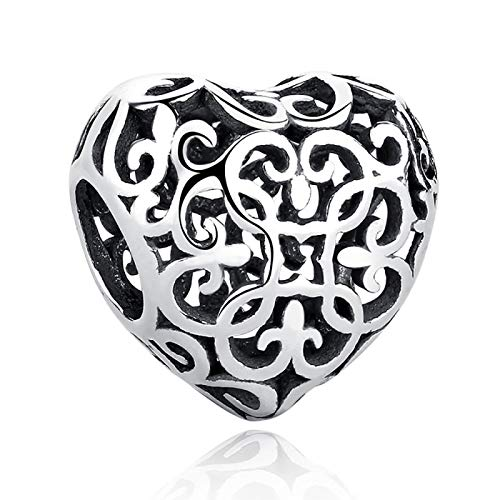 LISHOU DIY 925 Plata Esterlina En Forma De Corazón Amor Romántico Abalorios Joyería De Moda para Mujer Adecuado para Pandora Pulsera Brazalete Regalo