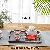 CONCEN トレイティートレイ食品トレイ長方形ソリッドウッドの中国Gongfuティーセットトレイをサービング3点セット桐材ウッド (Color : A S 32x22x2cm)
