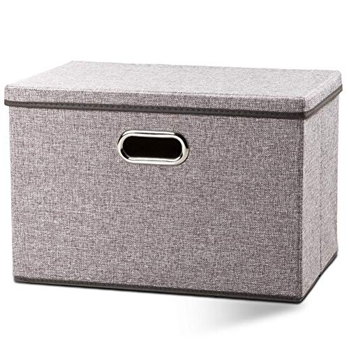 Prandom Large Foldable Storage Bin with Lid [1-Pack] Linen Fabric Decorative Storage Box Organizer Containers Basket Cube with Handles Divider for Bedroom Closet Office Living Room (17.7x11.8x11.8')