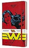 Moleskine - Cuaderno Wonder Woman Edición Limitada, Tapa Dura, Goma Elástica y Páginas con Rayas, Color Rojo, Tamaño Grande 13 x 21 cm, 240 Páginas