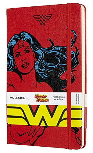 """Moleskine Limited Edition Wonder Woman Notebook, Hard Cover, Large (5"""" x 8.25"""") Ruled/Lined, Red, 240 Pages"""