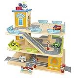 Leomark Garage en Bois, Parking à 3 Niveaux avec Ascenseur et Voitures, Garage Véhicule Miniature plus 9 Voitures en metal Hauteur du Garage 55 cm