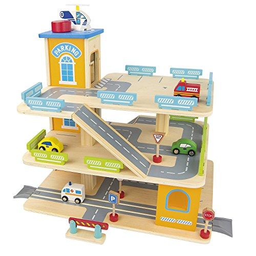 Garage En Bois, Parking à 3 Niveaux avec ascenseur et Voitures, Garage Véhicule Miniature plus 9 Voitures en metal