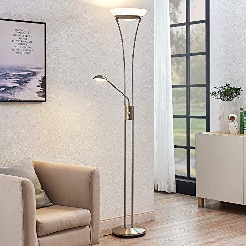 Lindby LED Stehlampe 'Amadou' dimmbar (Modern) in Alu aus Metall u.a. für Wohnzimmer & Esszimmer (A+, inkl. Leuchtmittel) - Wohnzimmerlampe, Stehleuchte, Floor Lamp, Deckenfluter, Standleuchte