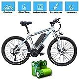 Elektro-Bike Für Erwachsene, Elektro-Mountainbike, 26 Zoll 360W Abnehmbarer Aluminiumlegierung Ebike Fahrrad, 48V / 10Ah Lithium-Ionen-Akku Für Outdoor Radfahren Trainieren Reise,White blue,26 In