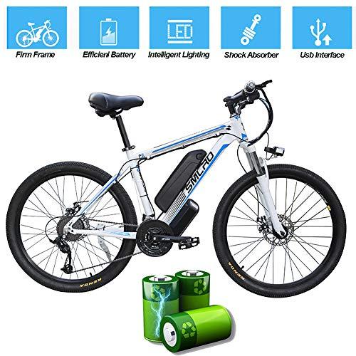 Vélo Électrique Pour Adultes, VTT Électrique, 26 Pouces En Alliage D'aluminium Amovible 360W Ebike Vélos, 48V / 10Ah Lithium-Ion Pour L'extérieur Cyclisme Voyage Out Travail,White blue,26 In