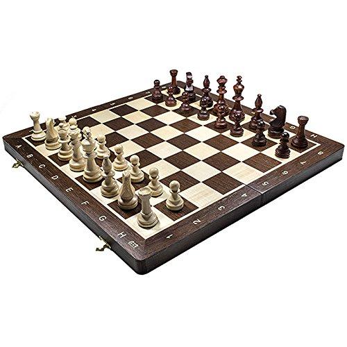 TORNEO profesional de 19 'No.5 Juego de ajedrez de madera de 48cm. Tablero de ajedrez de wengué y sicomoro con incrustaciones y piezas Staunton lastradas
