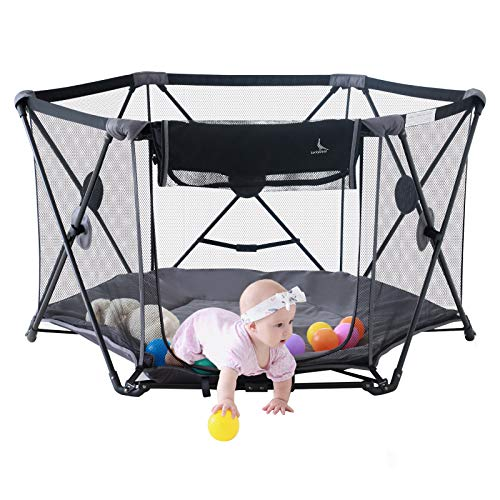 """LuckyDove Portable Playard for Innfants and Toddlers,Folding Play Pen for Babies with Carrying Bag and Mattress,Washable,Foldable,6 Panel,Open Whtin Seconds 53"""" Wx 30"""" H (Gray)"""