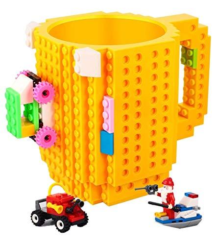 azas de ladrillo incorporadas, con 3 paquetes de bloques al azar, taza de bloques de construcción creativos de bricolaje para jugo de agua, taza divertida única compatible con Lego, tazas de fiesta pa
