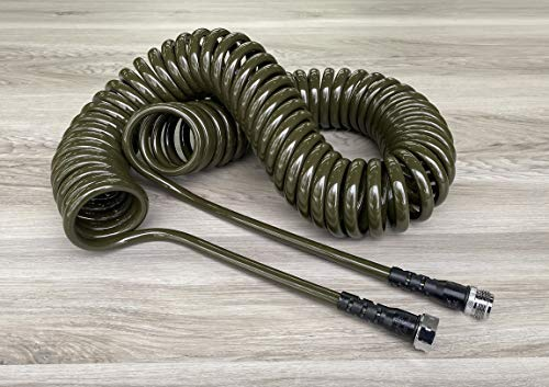 """Water Right 300 Series (3/8"""") Coil Garden Hose, Drinking Water Safe, 50-Foot, Lead-Free Brass Fittings, Olive"""