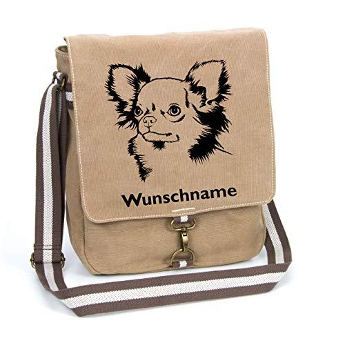 Chihuahua Langhaar Canvas Schultertasche Umhängetasche Tasche mit Hundemotiv und Namen personalisiert