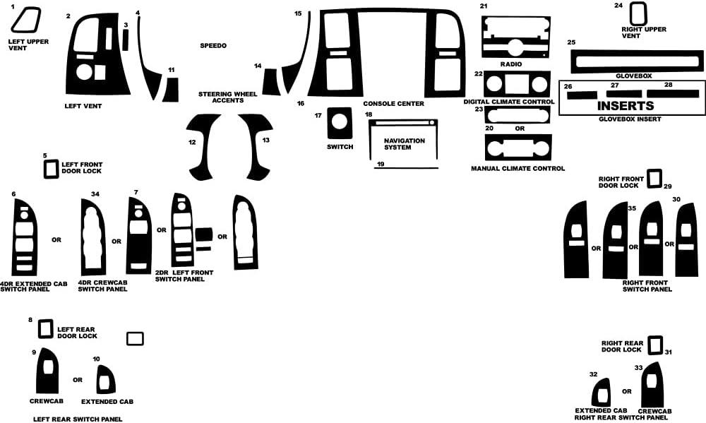 Rvinyl Rdash Dash Kit Decal Trim Compatible with Chevrolet Silve