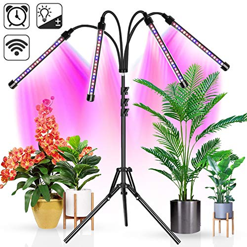 Upgraded Wolezek 4-Head LED Grow Light with Tripod Stand for Indoor Plants, 80 LED Full Spectrum Floor Grow Lamp with Dual Controllers, 4/8/12H Timer (Tripod Adjustable 11-63 inch)